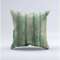 Green Tinted Wood Planks ink-Fuzed Decorative Throw Pillow