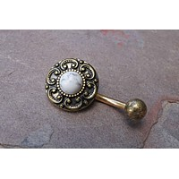 White Turquoise Gold Belly Button Ring Tribal Shield