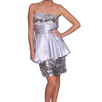 Beautifly Women's Strapless Sequin Peplum Dress