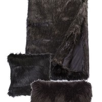 Long Knap Deep Black Fox Faux Fur Throw (54 x 72)