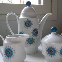 SALE 22% - Op-Art Coffee Set from Winterling Bavaria, consisting of a coffee pot, milk jug & sugar bowl