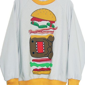 Domo Burger Print Two Tone Sweatshirt