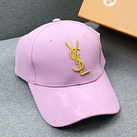 YSL Fashion New Embroidery Gold Letter Women Men Sunscreen Travel Cap Hat Pink