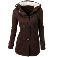 Horn Button Fleece Hooded Woolen Duffle Coat
