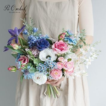 PEORCHID Blue Wedding Bouquet For bride Ramos De Novia 2020 New Artificial Bridal Rose Pink flower Bouquet Decoration