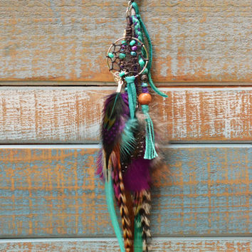 Turquoise Deerskin Gypsy Boho Feather Purse Charm