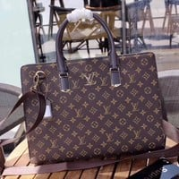 LV Louis Vuitton  Leather Shoulder Bag Satchel Tote Handbag Crossbody Briefcase