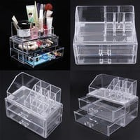 Portable Transparent Makeup Organizer Storage Box Acrylic Make Up Organizer Cosmetic Case Two Layer Drawers Maquillage