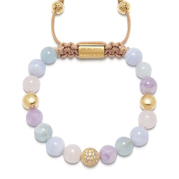 Women's Beaded Bracelet with Aquamarine, Blue Lace Agate, Rose Quartz, and Amethyst Lavender
