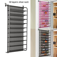 Over Door Hanging Shoe Rack 10 Tier Shoes Organizer Wall Mounted Shoe Hanging Shelf 1pcs