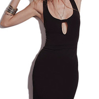 Black Scoop Neck Bodycon Mini Dress