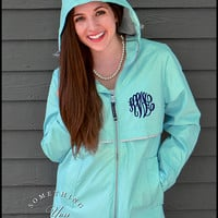 Aqua Monogram Raincoat Jacket - Waterproof Raincoat, Personalized Rain Jacket, Aqua Raincoat, Printed Rain Jacket