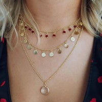 Ready For Anything Necklace: Gold/Burgundy