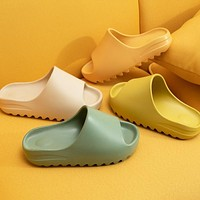 Men And Women Couple Thicken Summer Slippers Female Solid Color Home Indoor Shoes Serrated Edge Breathable Flip Flops