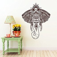 Ganesha Wall Decal Ganesh Wall Decals Elephant Lord of Success Buddha Yoga Om Indian Wall Vinyl Decals Sticker Home Interior Wall Decor for Any Room Housewares Mural Design Graphic Bedroom Wall Decal Bathroom (5915)