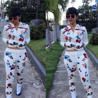 Flower Print Coat with Skinny Pants Two Pieces Set