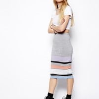 ASOS Pencil Skirt In Pastel Stripe