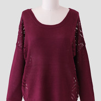 Provincetown Curvy Plus Sweater In Burgundy