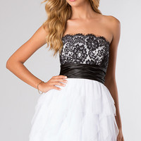 Strapless Lace Black and White Dress for Homecoming