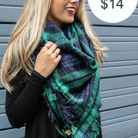 Night Drive Green Tartan Plaid Oversized Blanket Scarf With Raw Hem