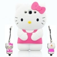 I Need's Authentic 3d Hello Kitty Samsung Galaxy S3 I9300 TPU Soft Case Cover with 3d Hello Kitty Stylus Pen Peath