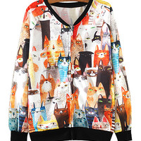 Colorful Cats Print Zipper Up Sweatshirt