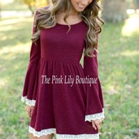 Just The Sweetest Dress Burgundy CLEARANCE