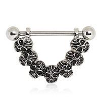 316L Surgical Steel Nipple Ring with Skulls.