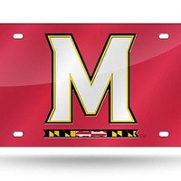 Maryland Terrapins RED NEW LOGO Deluxe Laser Cut License Plate Tag University of