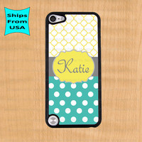 Polka Dots Monogram iPod Touch 5 Case, Damask Pattern iPod Cover, Monogram iTouch 5 Cases, Cute iPod touch 5th generation Case