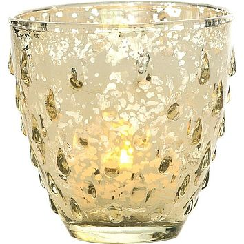Vintage Mercury Glass Candle Holder (3.25-Inch, Small Deborah Design, Gold) - For Use with Tea Lights - Home Decor, Parties and Wedding Decorations
