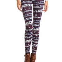 Cotton Tribal Printed Leggings by Charlotte Russe - Navy Combo
