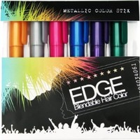 Hair Chalk | Metallic Glitter Temporary Hair Color - Edge Chalkers - Lasts up to 3 Days, No Mess, Built in Sealant, 80 Applications Per Stick, Works on All Hair Colors-6 COUNT.