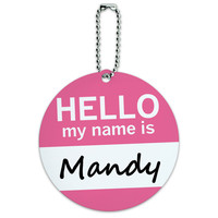 Mandy Hello My Name Is Round ID Card Luggage Tag