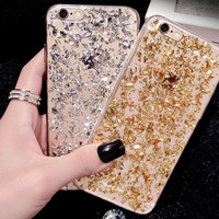 Crystal  Clear Paillette Glitter Gold Silver Bling Phone Cases for Apple iPhone 5s 5 6 6s Plus 7 7plus Back Cover Soft Case  A52