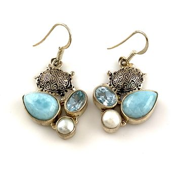 Larimar, Pearl & Blue Topaz Sterling Silver Turtle Earrings