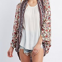 FLORAL PRINT COCOON CARDIGAN SWEATER