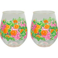Lilly Pulitzer Wine Glass Set (Stemless)- Peelin' Out- FINAL SALE
