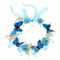 Wedding Bridal Hair Flower Crowns Handmade Pearl Flower Wreath Woman Girls Butterfly Flower Garland Headbands Hair Accessories