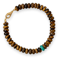 8.75in Tiger's Eye and Turquoise Fashion Bracelet