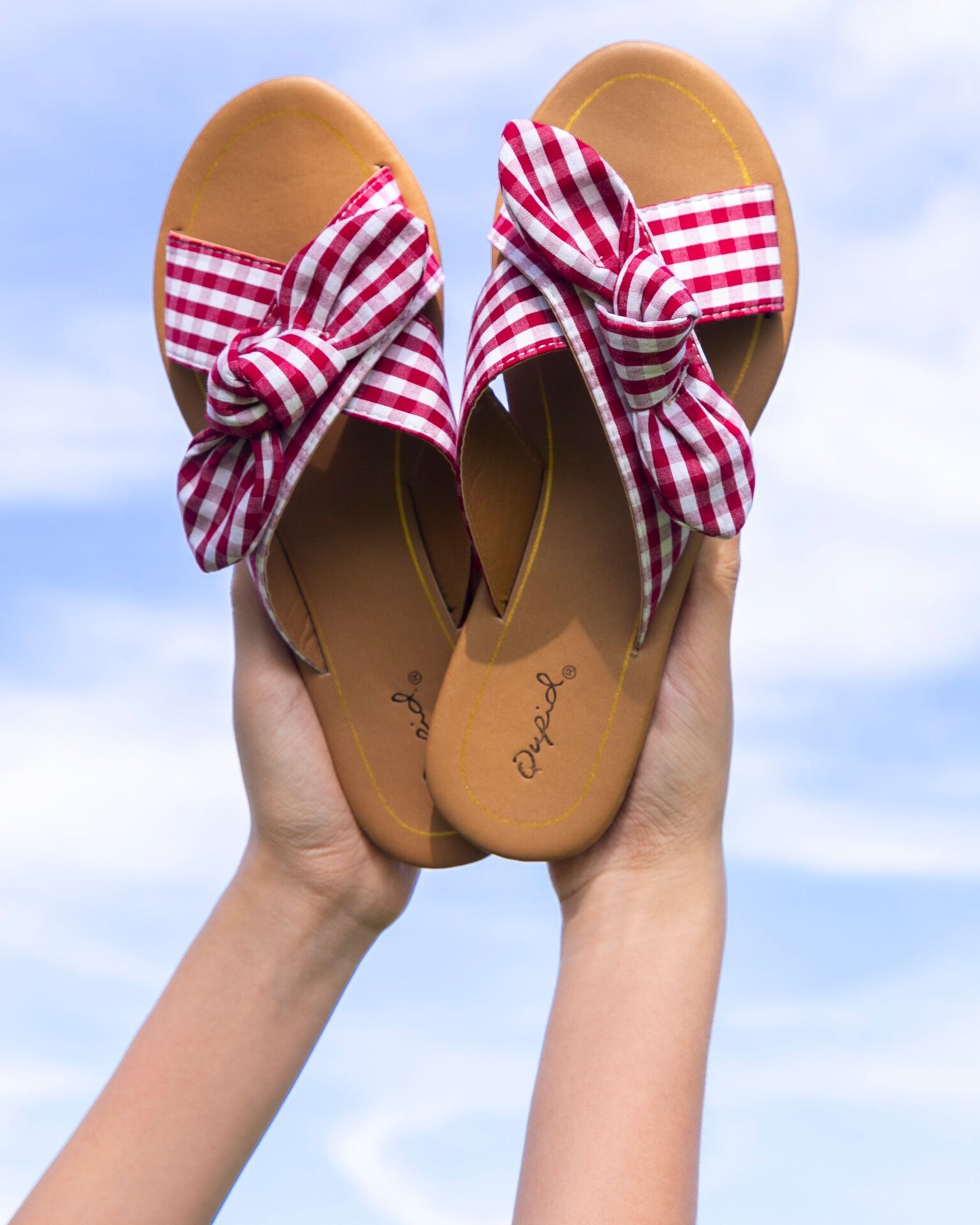 Image of Gingham Cross Band Sandals