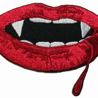 Vampire Teeth Mouth Iron On Applique Patch