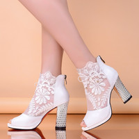 2015 Spring and Summer Genuine Leather women shoes gauze lace cool boots female open toe Thick high-heeled sandals