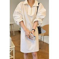 SuperAen Solid White Simple Loose Batwing Sleeve A-Line Polo Office Lady Woman Dress