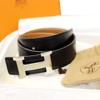 HERMES Belt Constance Buckle H Reversible Black Brown 60cm
