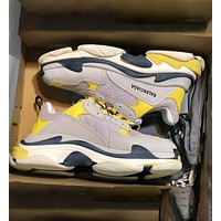 Onewel Balenciaga Triple S Low Top Sneaker Women Men Classic Shoes Grey Yellow