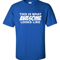 This is what Awesome looks like Funny T-Shirt Tee Shirt Mens Ladies Womens ratchet hip hop swag USA Canada UK geek nerd hipster Tee ML-244