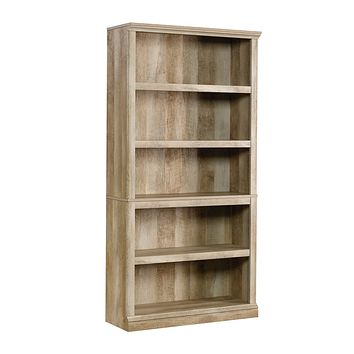 Sauder 5-Shelf Bookcase, Lintel Oak finish