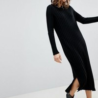 ASOS Midi Dress in Pleated Wide Rib at asos.com