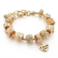 "Pandora Inspired ""I Love You"" Charm & Swarovski Crystal Gold-Plated Bracelet"